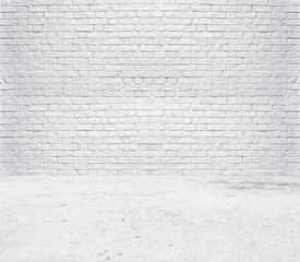 Blank bright room with tile floor and brick white wall background