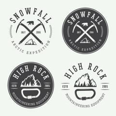 Vintage mountaineering logos, badges, emblems.