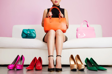 Woman with colorful bags and shoes. Shopping,sale,fashion image.