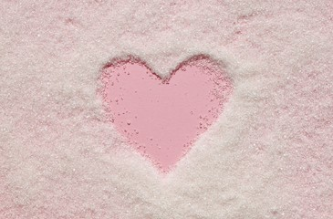 Heart shape drawing white sugar pink backdrop sweet background
