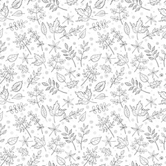 Seamless white leaf pattern.