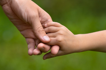 adult holding a child's hand