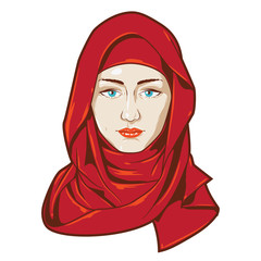 portrait of a beautiful middle eastern girl using a red veil.