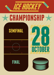 Ice Hockey typographical vintage style poster. Retro vector illustration.