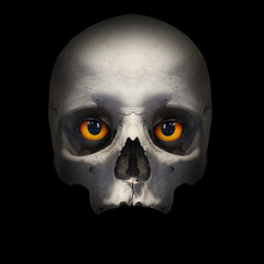 Fototapete - Skull with evil eyes looking to you from deep grave. Picture on Halloweens theme.