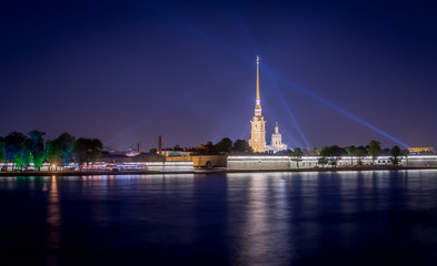 Peter and Paul Fortress with night lights