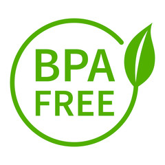 BPA bisphenol A and phthalates free flat badge icon for non toxic plastic