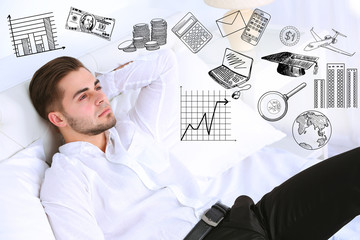 Young business man thinking of him plans