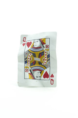 Queen of Hearts Crumpled Playing Cards on white background