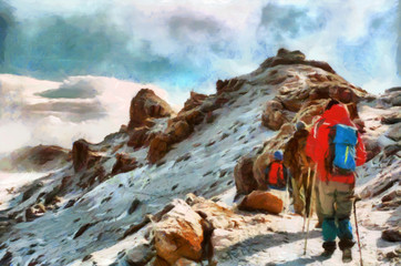 Group of trekkers hiking among snows of Kilimanjaro mountain