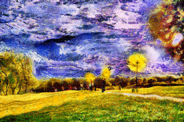 Strolling people at starry night park oil painting