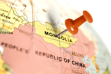 Location Mongolia. Red pin on the map.