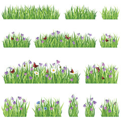 Flower border background. Summer floral icon set and seamless floral frame