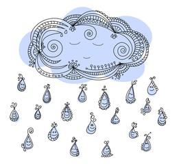 Happy raindrops with sleepy cloud cartoon illustration