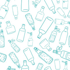 Vector seamless pattern with bottles of wine, juice, syrup and dots background