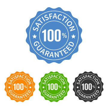 100% satisfaction guaranteed seal or label flat icon