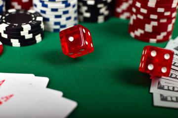 falling poker red  dice