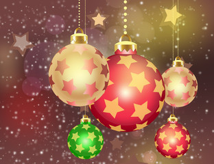 Christmas theme with gold orange glass balls