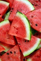 Slices of ripe watermelon close up