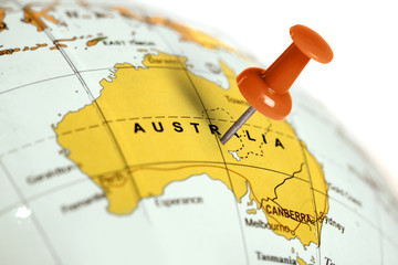 Zelfklevend Fotobehang Australië Location Australia. Red pin on the map.