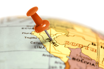 Location Peru. Red pin on the map.