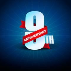 9th Anniversary 3D on blue background