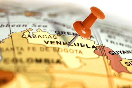 Location Venezuela. Red pin on the map.