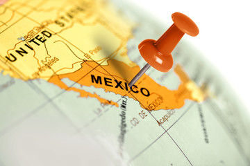 Wall Murals Mexico Location Mexico. Red pin on the map.