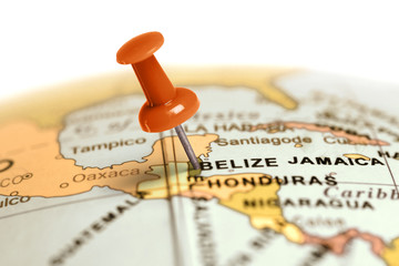 Location Belize. Red pin on the map.