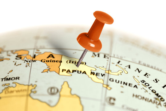 Location Papua New Guinea. Red pin on the map.