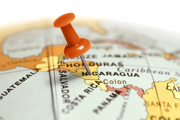 Location Nicaragua. Red pin on the map.