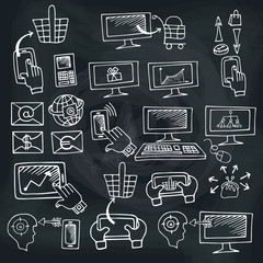 Doodle scheme seo communication with icons.Chalkboard