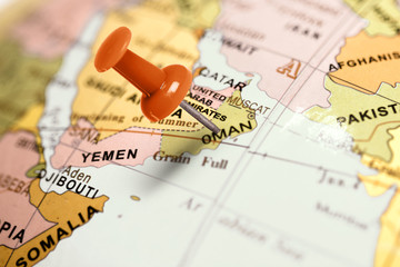 Location Oman. Red pin on the map.
