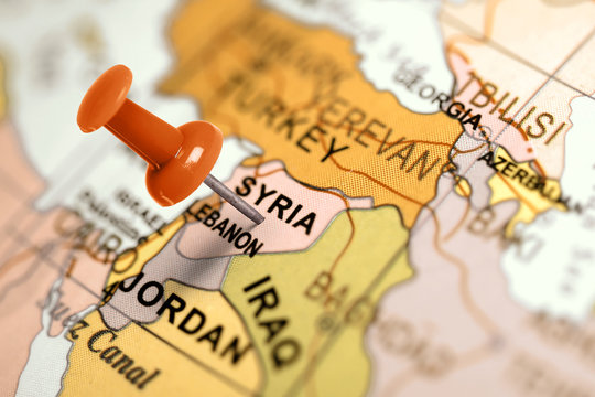 Location Syria. Red pin on the map.