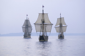 Canvas Prints Ship The Susan Constant, Godspeed and Discovery, re-creations of the three ships that brought English colonists to Virginia in 1607, flying the English and Union Jack flags and sailing down the James River on May 12, 2007, as part of the 400th Anniversary program of the founding of Jamestown, Virginia