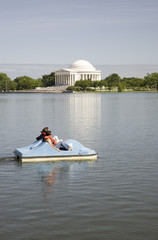 Paddle boat floating by the Jefferson Memorial on the Tidal Basin, Washington, DC