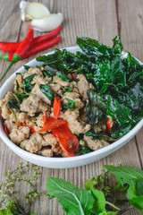 Stir Fried Basil with Pork, Thai Spicy Food, Thai Food, Thai Cuisine, Thai Delicious Food