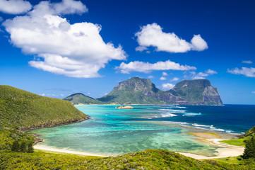 View over Lord Howe Island lagoon, Australia