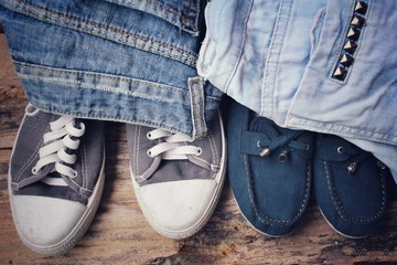Sneakers couple with jeans