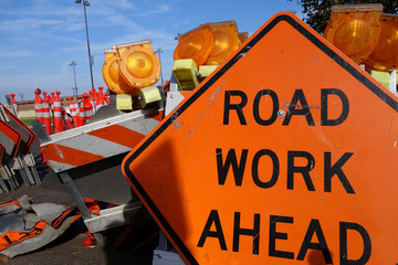 traffic safety roadwork signs and light