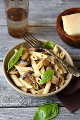 Pasta with mushrooms in bowl
