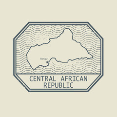 Stamp with the name and map of Central African Republic