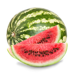 ripe watermelon with slices close-up isolated on a white background