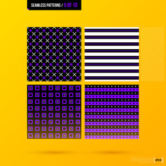 Set of four seamless patterns on bright yellow background in modern corporate style. EPS10