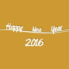 Golden New Year Greetings for 2016 with white lettering happy new year on a white wavy line with shadow