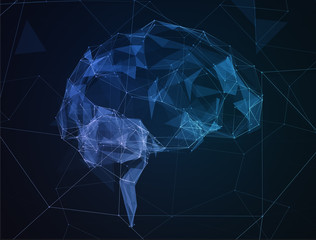 The abstract image of human brain in form lines communication