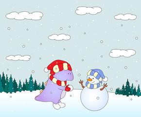 Cute chubby dragon sculpts snowman in a snowy forest. Christmas