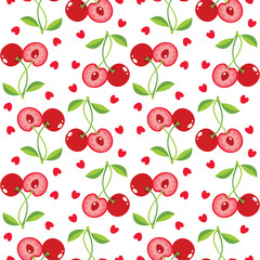 Cherries and hearts background