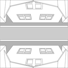 Graphic black and white top view houses on the street and the road. Vector Illustrator