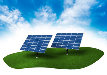 Land with solar panels in the sky